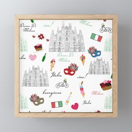 Milan, Italy seamless pattern with hand drawn sketch Framed Mini Art Print