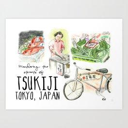 Wandering the Streets of Tsukiji, Tokyo, Japan Art Print