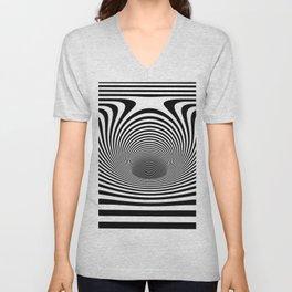 Op Art Horizontal Stripes Warped Portal Optical Illusion Unisex V-Neck