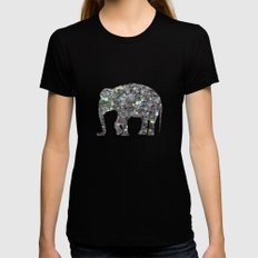 Sparkly colourful silver mosaic Elephant Black MEDIUM Womens Fitted Tee