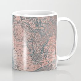Vintage World Map Rose Gold and Storm Gray Navy Coffee Mug