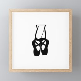 Black Ballet Shoes En Pointe Silhouette Illustration Framed Mini Art Print
