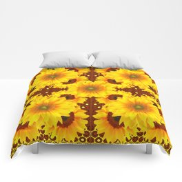 DECO BROWN MULTI YELLOW SUNFLOWERS Comforters