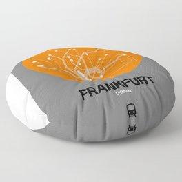 Frankfurt Orange Subway Map Floor Pillow