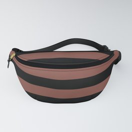 Inspired by Dunn Edwards Spice of Life DET439 Hand Drawn Fat Horizontal Lines on Black Fanny Pack