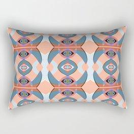 Peach and Teal Modern Boho Neo Tribal Geometric Rectangular Pillow