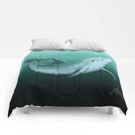 """""""Riversoul"""" by Amber Marine ~ Indian River Lagoon bottlenose dolphin art, (Copyright 2014) Comforters"""