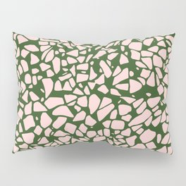 Stone Pattern - Salmon Pink & Olive Green Pillow Sham