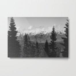 Snow Capped Sierras - Black and White Nature Photography Metal Print
