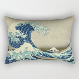 The Great Wave Off Kanagawa by Katsushika Hokusai (c. 1830) Rectangular Pillow