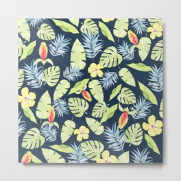 Tropical Leaves with Bromeliad and Hibiscus on Navy Metal Print