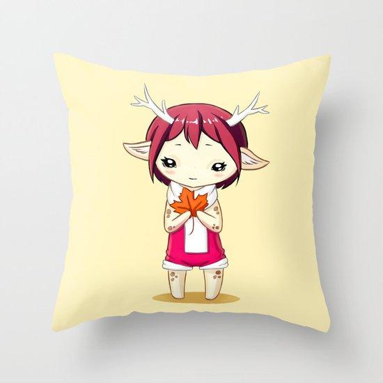 Deer Girl Throw Pillow