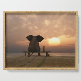 elephant and dog sit on a summer beach Serving Tray