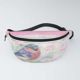 Bulfinch on the Sweet Lilac Blossom Fanny Pack