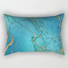 Electric Blue Marble Rectangular Pillow