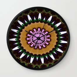 Lovely Healing Mandala  in Brilliant Colors: Black, Brown, Green, Beige, and Pink Wall Clock