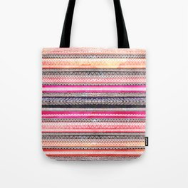 Bright pink orange watercolor handdrawn aztec pattern Tote Bag