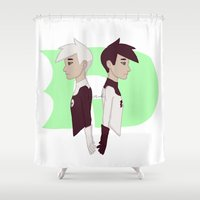 danny haas Shower Curtains featuring Danny by Dante Blue