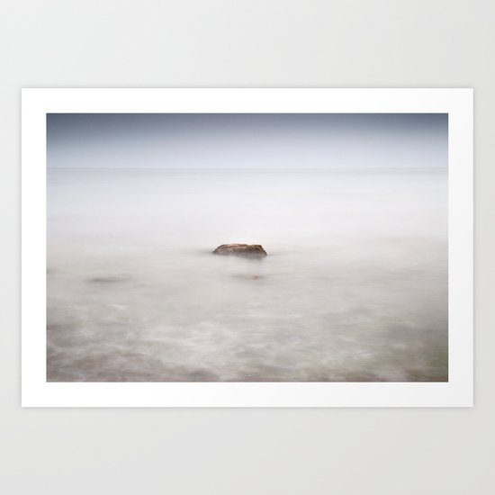 Lonely rock at the silver sea Art Print