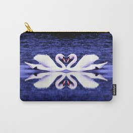 Swans in Love-dark blue Carry-All Pouch
