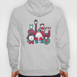 Doodle Animal Friends Pink & Grey Hoody