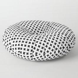 Small Black Crosses on White Floor Pillow
