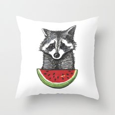 Racoon and watermelon Throw Pillow