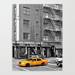 NYC - Yellow Cabs - Bagel Cafe Poster