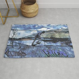 Tipping Point -Skateboarder Launching - Outdoor Sports Rug