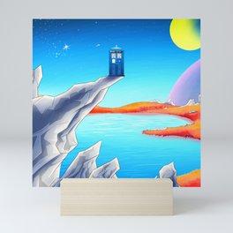 tardis space at starry night Mini Art Print
