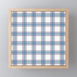 Farmhouse Plaid in blue, red on white Framed Mini Art Print