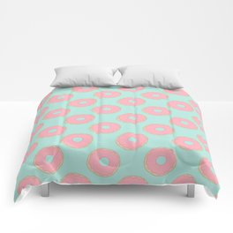 Pink Doodle Donuts Pattern on an aqua blue background Comforters