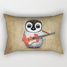 Baby Penguin Playing Canadian Flag Guitar Rectangular Pillow