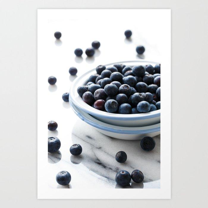 Bowl of Blueberries Art Print