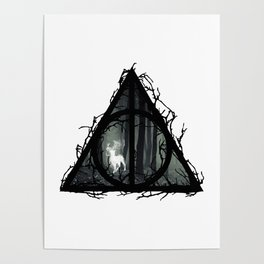 Deathly Hallows - Prongs in the forest with brenches | Marauders - Potterhead - Patronus Poster