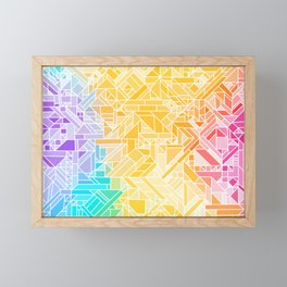 Warm Fall Rainbow Gradient (Violet Blue Yellow Red) Geometric Pattern Print Design Framed Mini Art Print