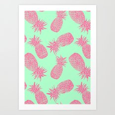 Pineapple Pattern - Mint & Crimson Art Print