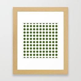 Simply Polka Dots in Jungle Green Framed Art Print