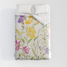 yellow pink white and  purple windflowers 2020 Duvet Cover