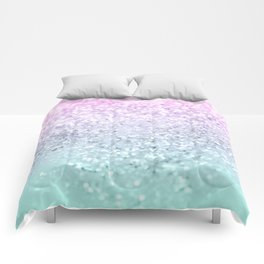 Mermaid Girls Glitter #1 (2019 Pastel Version) #shiny #decor #art #society6 Comforters