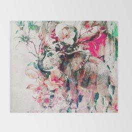 Watercolor Elephant and Flowers Throw Blanket