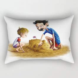 Father and Son at the Beach Rectangular Pillow