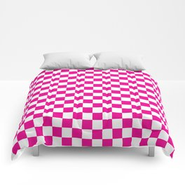 Pink Checkerboard Pattern Comforters