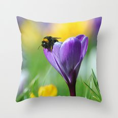 Bumble Bee on Crocus Throw Pillow