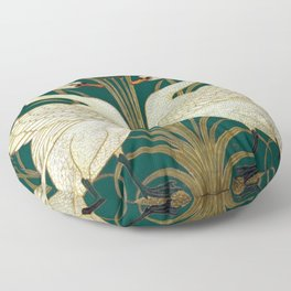 Walter Crane's Swan, Rush, Iris Floor Pillow