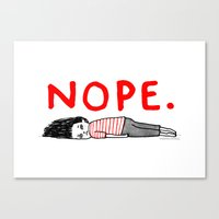 work hard Canvas Prints featuring Nope by gemma correll