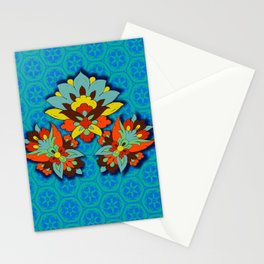 blue Persian pool and red lotus Stationery Cards