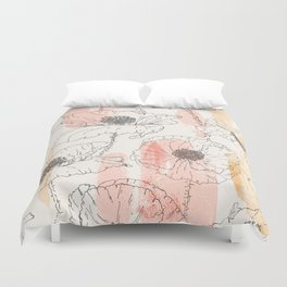 Watercolor Poppies Seamless Print Duvet Cover