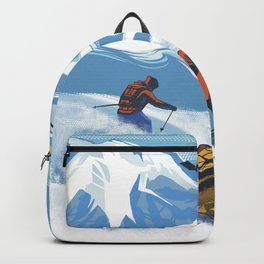 Retro Travel Heliski ski Revelstoke poster Backpack