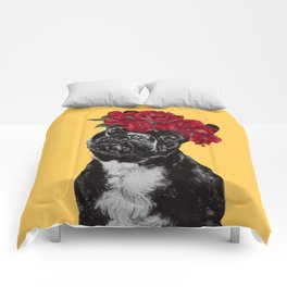 French Bulldog with Rose Flower Crown in Yellow Comforters